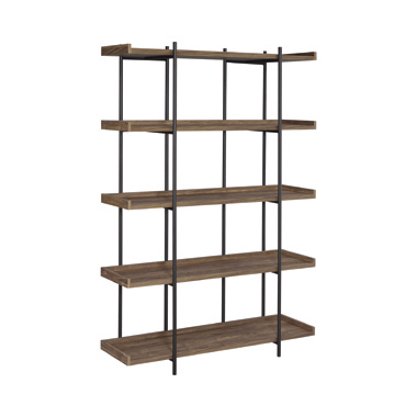 Lawtey 5-shelf Bookcase Aged Walnut