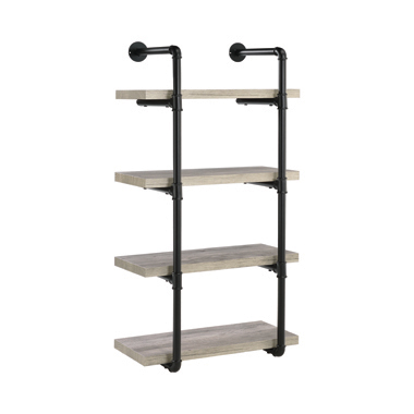 24-inch Wall Shelf Black and Grey Driftwood