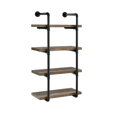 24-inch Wall Shelf Black and Rustic Oak