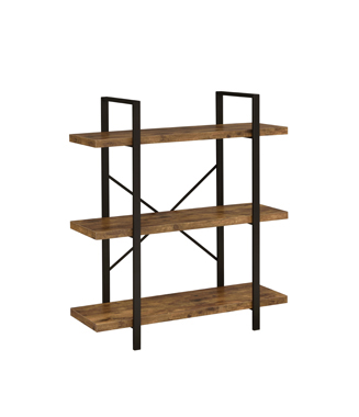 3-Shelf Bookcase Antique Nutmeg and Black