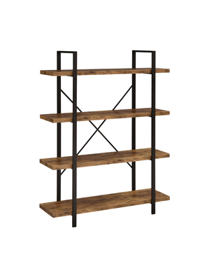 4-Shelf Bookcase Antique Nutmeg and Black
