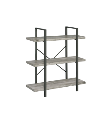 3-Shelf Bookcase Grey Driftwood and Gunmetal