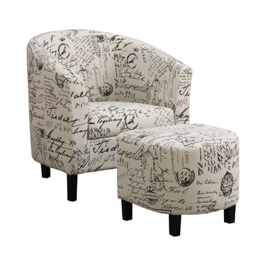 2-piece Upholstered Accent Chair and Ottoman Off White