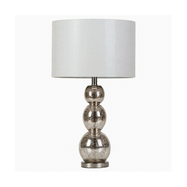 Drum Shade Table Lamp White and Antique Silver