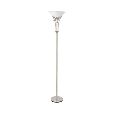 Floor Lamp with Frosted Ribbed Shade Brushed Steel