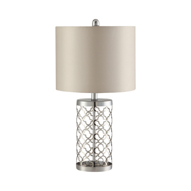 Drum Table Lamp Light Gold and Beige