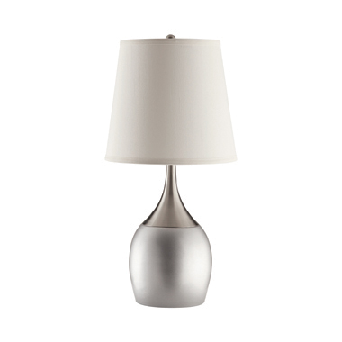 Empire Shade Table Lamps Silver and Chrome (Set of 2)