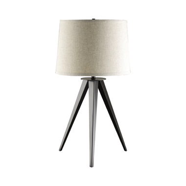 Tripod Base Table Lamp Black and Light Grey