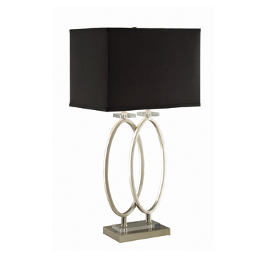 Rectangular Shade Table Lamp Black and Brushed Nickel