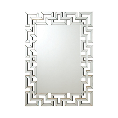 Interlocking Greek Frameless Wall Mirror Silver