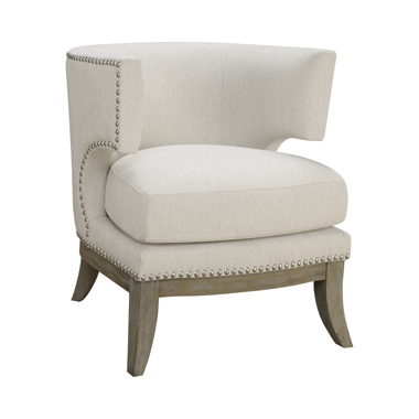 Barrel Back Accent Chair White and Weathered Grey