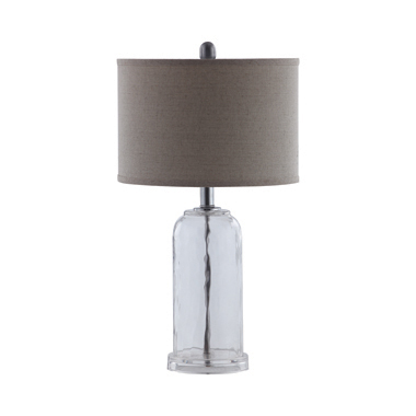 Drum Shade Table Lamp Grey and Clear
