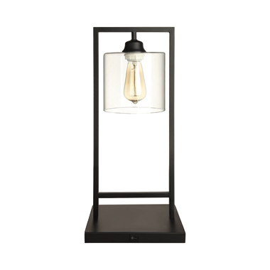 Glass Shade Table Lamp Black