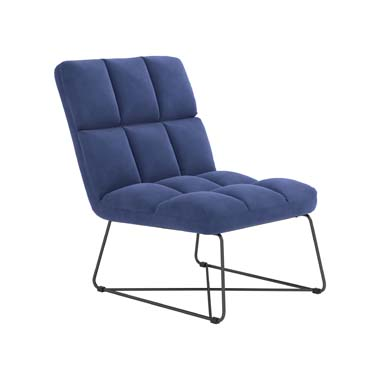 Armless Upholstered Accent Chair Midnight Blue
