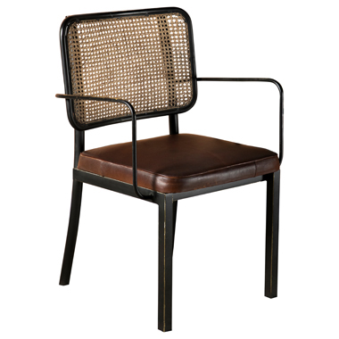 Accent Chair with Upholstered Seat Brown and Black