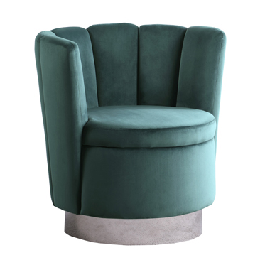 Channeled Tufted Swivel Chair Dark Teal and Chrome