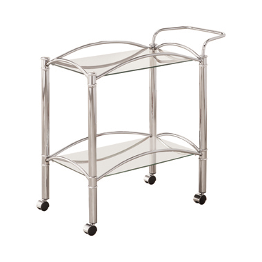 2-tier Serving Cart with Glass Top Chrome and Clear