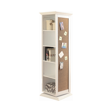 Swivel Accent Cabinet with Cork Board White