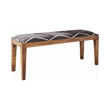 Serene Rectangular Upholstered Bench Natural and Navy