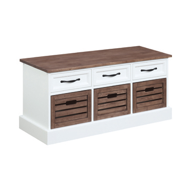 3-drawer Storage Bench Weathered Brown and White