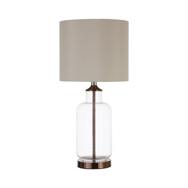 Drum Shade Table Lamp Creamy Beige and Clear