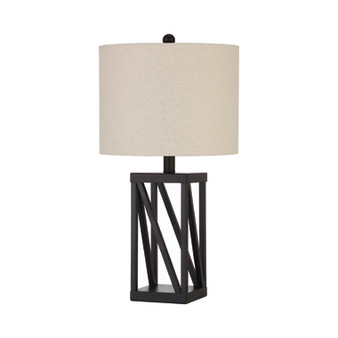 Geometric Base Table Lamp Beige and Black