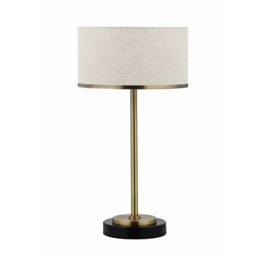 Drum Shade Table Lamp Beige and Brass