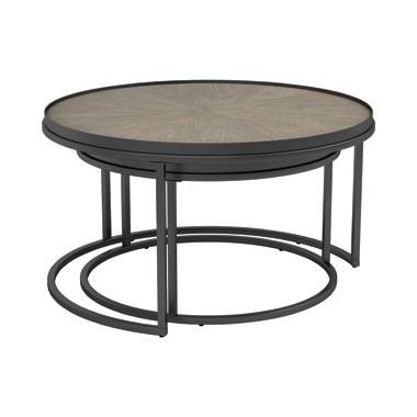 2-piece Round Nesting Tables Weathered Elm