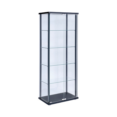 5-shelf Glass Curio Cabinet Black and Clear