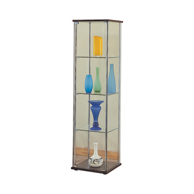 Rectangular 4-shelf Curio Cabinet Cappuccino and Clear