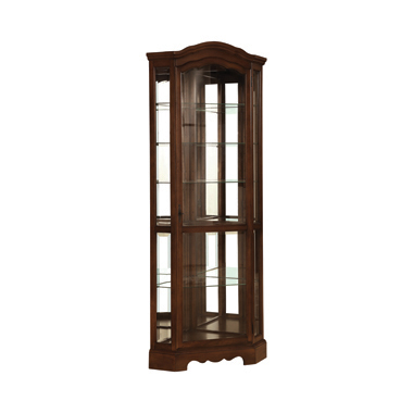 6-shelf Corner Curio Cabinet Burnished Brown