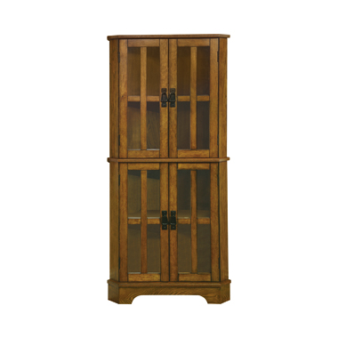 4-shelf Corner Curio Cabinet Golden Brown