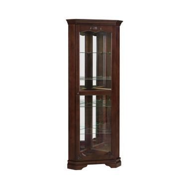 5-shelf Corner Curio Cabinet Golden Brown
