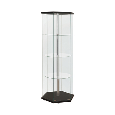 4-shelf Hexagon Shaped Curio Cabinet Black and Clear