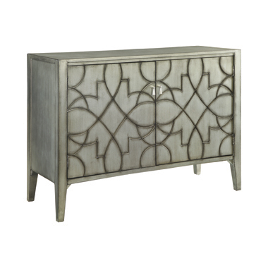 Accent Cabinet with Carved Doors Grey