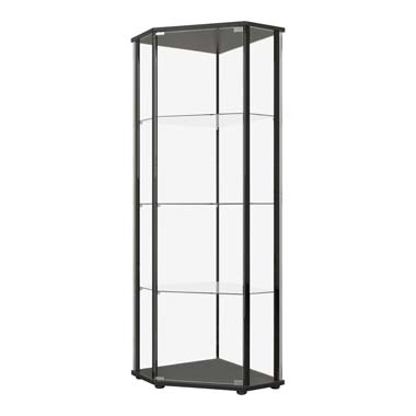 Glass Shelf Curio Cabinet Clear and Black