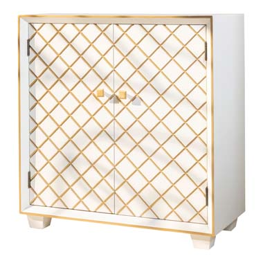 2-door Accent Cabinet White and Gold