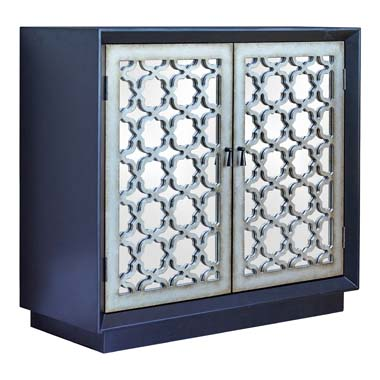 2-door Accent Cabinet with Lattice Pattern Black