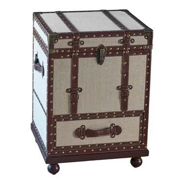 1-drawer Upholstered Accent Cabinet Beige and Bronze