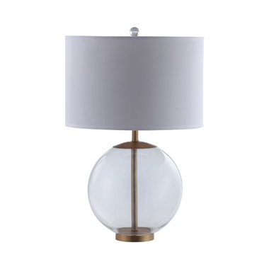 Drum Shade Table Lamp with Glass Base White