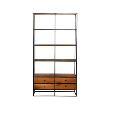 4-drawer Etagere Natural Sheesham and Black