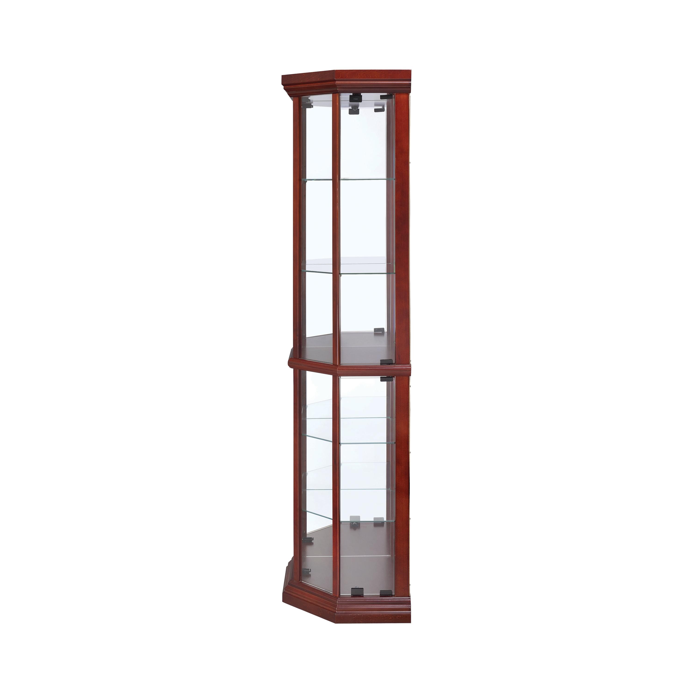 6 Shelf Corner Curio Cabinet Medium Brown Coaster Fine Fur