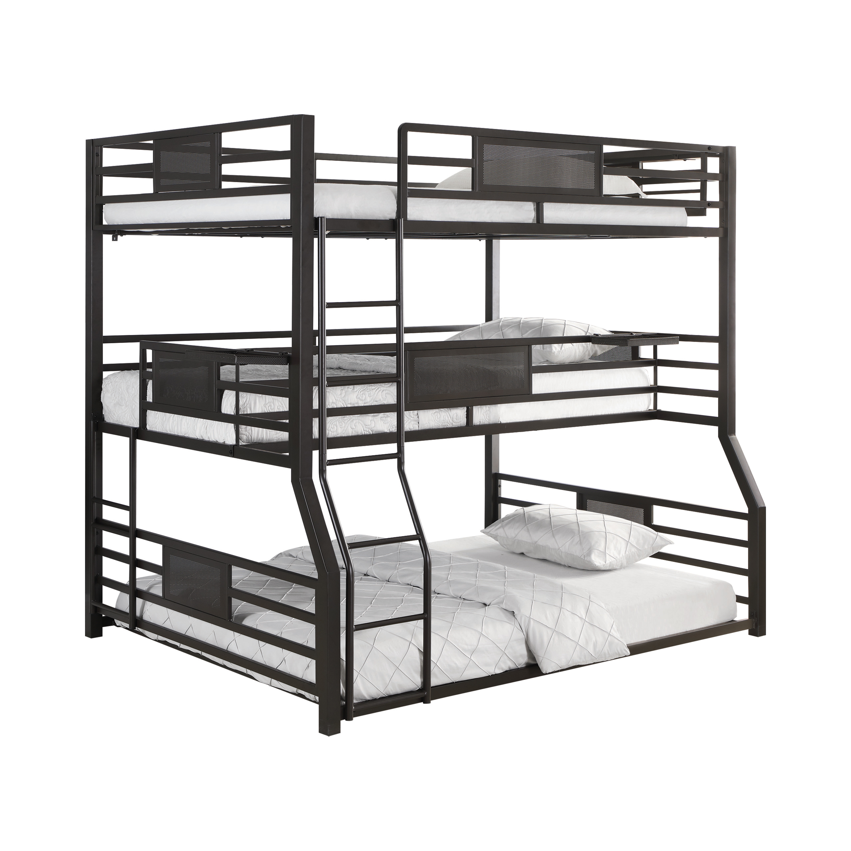 Picture of: Rogen Fill Twin Xl Queen Triple Bunk Bed Dark Bronze Coaster Fine Furniture