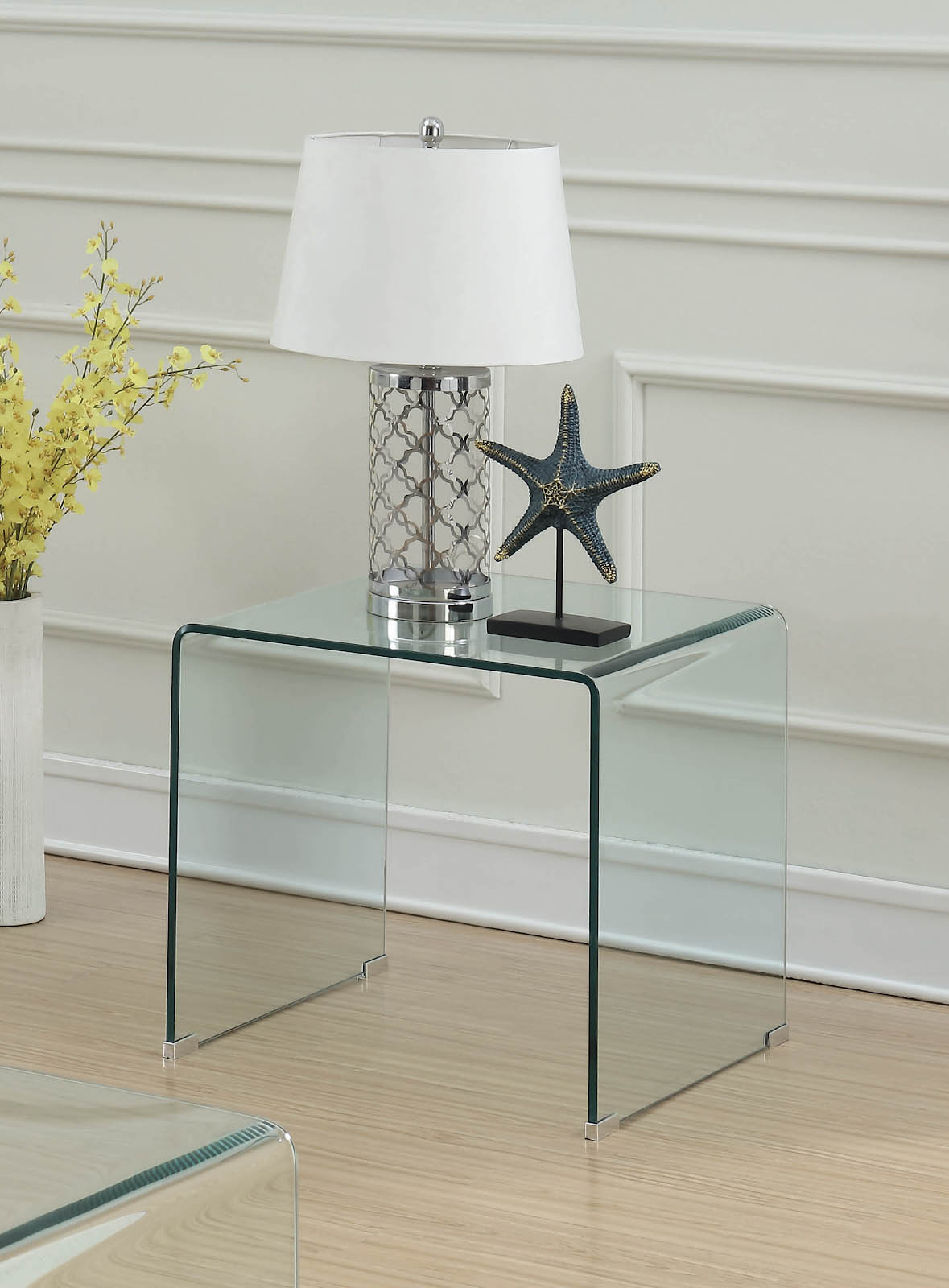 Square clear accent table